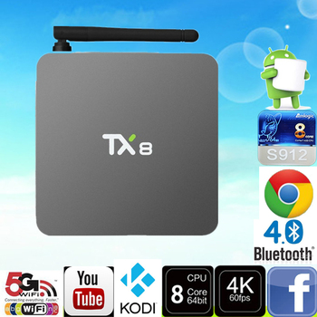 Android ТВ коробка Tx8 2 г 32 г Android 6.0 Amlogic S912 Octa core Set Top Box HDMI H.265 WI-FI Media Player Smart TV Box
