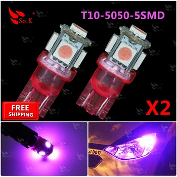2 Х T10 Розовый 5050-5SMD Super Bright LED ЛАМПОЧКИ 194 2825 921 168 175 501